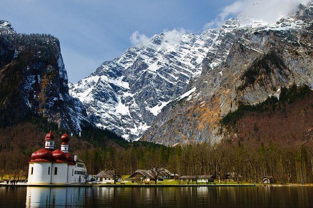 Lake Konigsee and St. Bartholomew Church. Breathtaking.