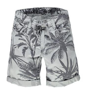 Tumble 'n Dry short met een all over print, model Megli. Deze korte broek heeft steekzakken aan de voor- en achterzijde en tunnelkoord in de taille - Grijs dessin - NummerZestien.eu