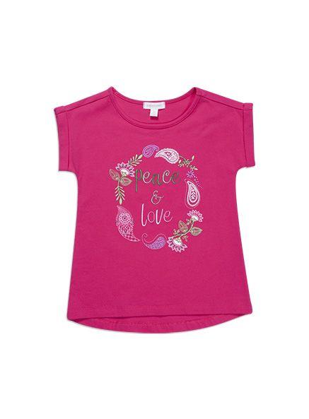 Pumpkin Patch - tees - love and peace tee - S4GL11006 - fuchsia rose - 5 to 12