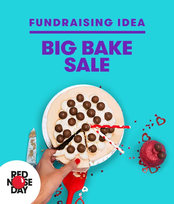 Go full-scale bake sale! Get friends or workmates in on the baking action and raise even more money for Red Nose Day. Order your free bake sale kit from our website.