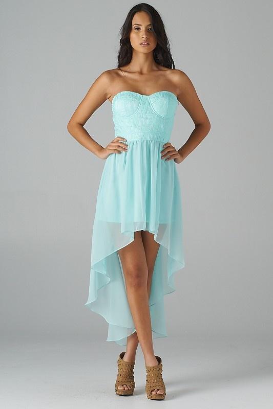 Bustier Lace Top Hi-Lo Dress