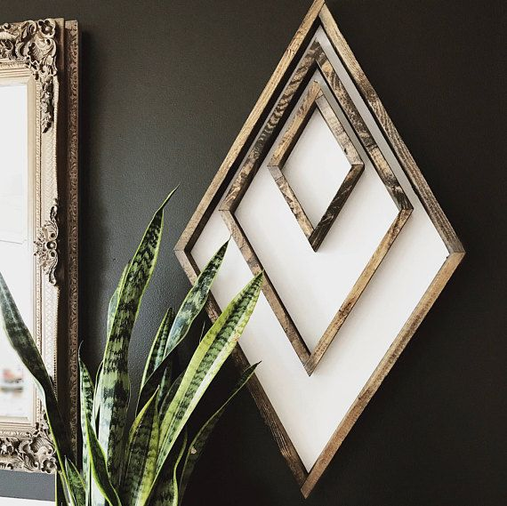 white wood backing with stained wood frames - 31 x 18 across - sawtooth hanger