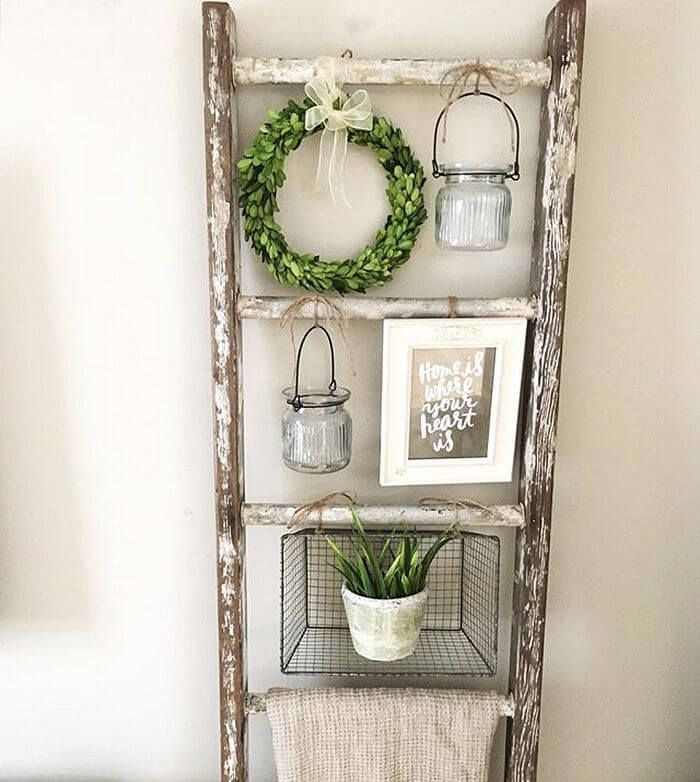 36 Brilliant Repurposed Old Ladder Ideas For Fans Of Upcycling Con Immagini Idea Di Decorazione Casa Fai Da Te Arredamento Rustico