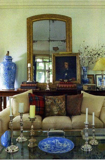 Eye For Design: Decorate In Ivy League Preppy Style: The back table scale of mirror and jar...