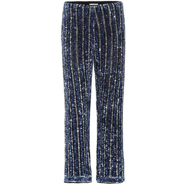 Ganni Pfeiffer Sequinned Trousers ($625) ❤ liked on Polyvore featuring pants, blue, blue pants, sequin pants, ganni, blue trousers and sequin embellished pants