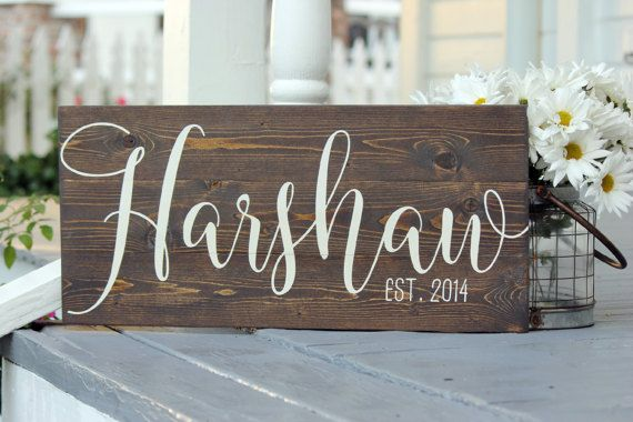 """Last name sign, Custom slatted wood sign, Family name sign, Custom wedding gift, Housewarming gift, Established sign, Measures 10.5"""" x 22"""""""