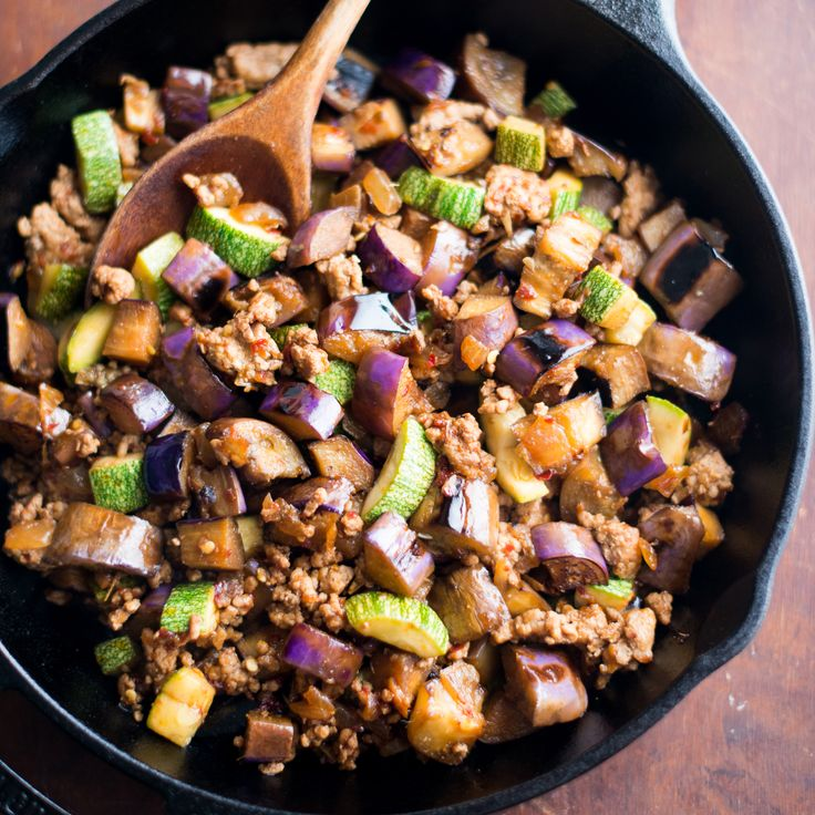 Eggplant and Chili Garlic Pork Stir-Fry  | Food & Wine