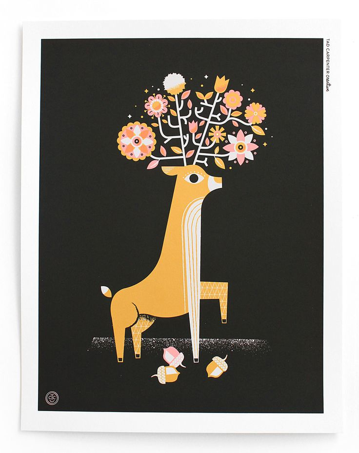 NEW Black Bouquet Deer Print by Tad Carpenter Creative
