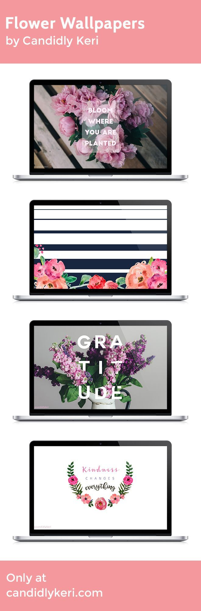 Flower quotes simple graduated stripes watercolor bloom where you're planted  Kindness changes everything wallpaper you can download for free on the blog! For any device; mobile, desktop, iphone, android!
