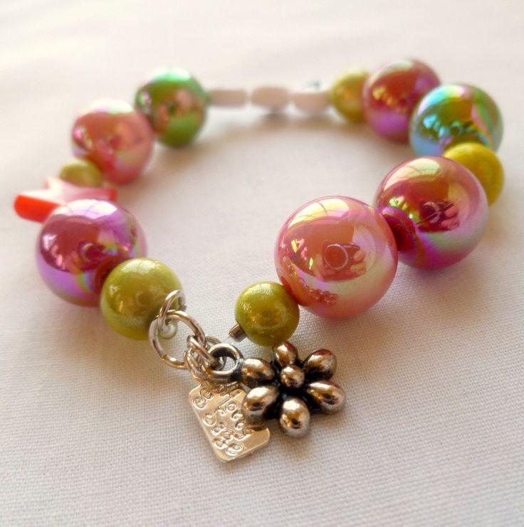 Little Girls Bracelet Custom Flower Charm Pink & Green. $14.00, via Etsy. #custom jewelry #little girls gifts