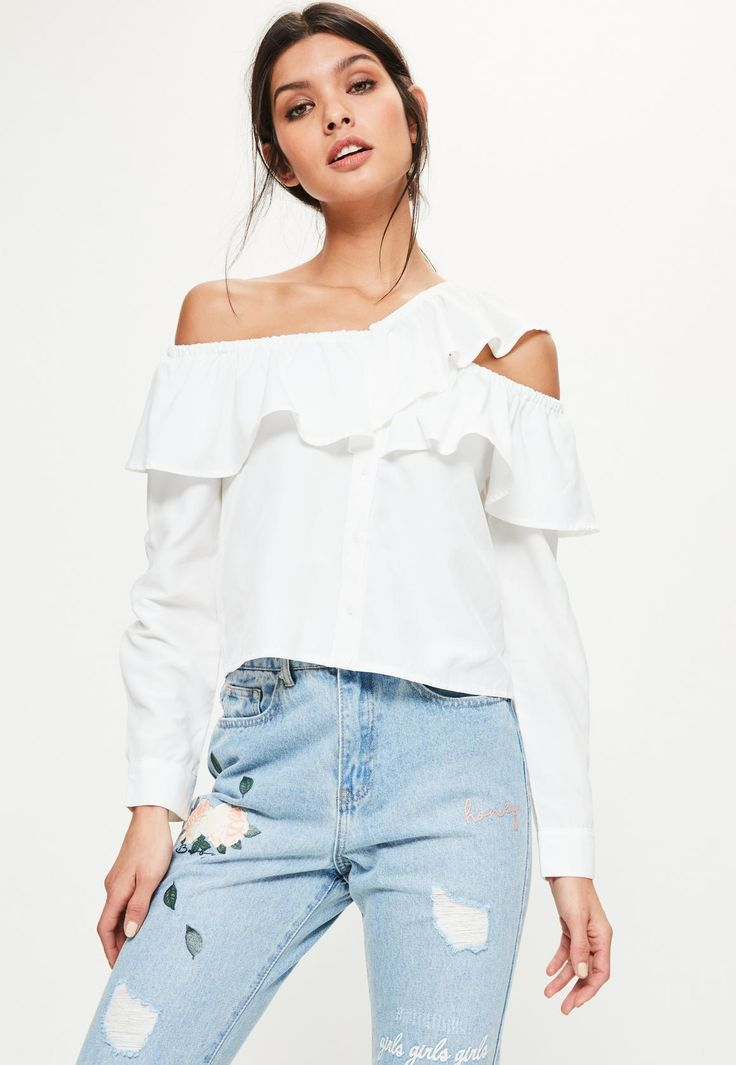 White Deconstructed Frill Bardot Shirt - Missguided