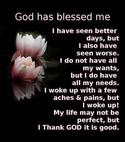 Words to Remember ... God has Blessed Me! Each and Every Day I wake up and am Alive I feel Blessed!