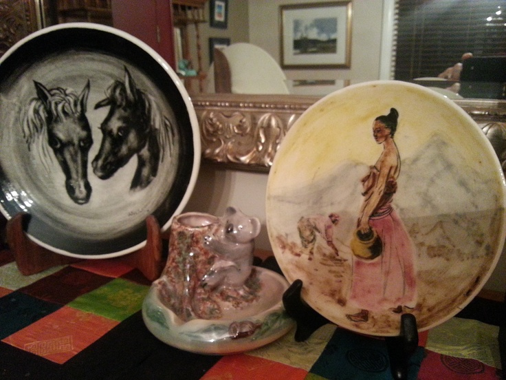 A gorgeous AMB Arthur Merric Boyd plate and a Guy Boyd woman on the other , with a Wembley koala in between.