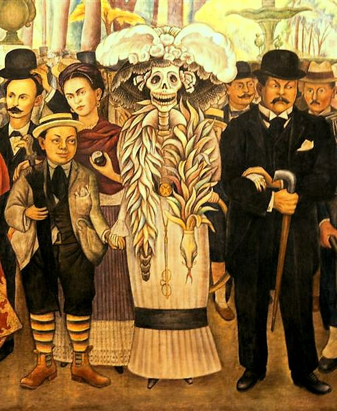 Diego rivera 39 s painting of la catrina arts frida kahlo for Diego rivera day of the dead mural