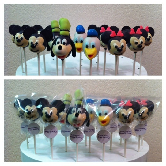 mickey mouse clubhouse cake pops (mickey, goofy, donald, minnie)