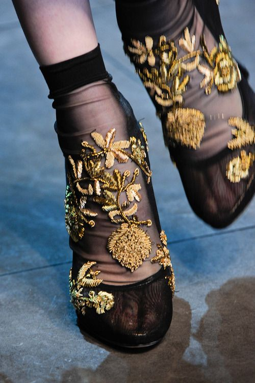 fashion, style, heels with socks, baroque style
