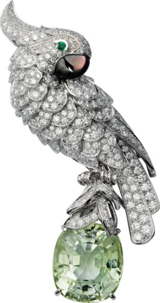 CRHP500364 - Cartier Fauna and Flora brooch - Platinum, white gold, green tourmaline, diamonds, emeralds, mother-of-pearl - Cartier