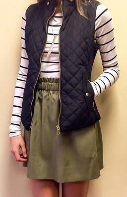 #fall #fashion / vest + stripes