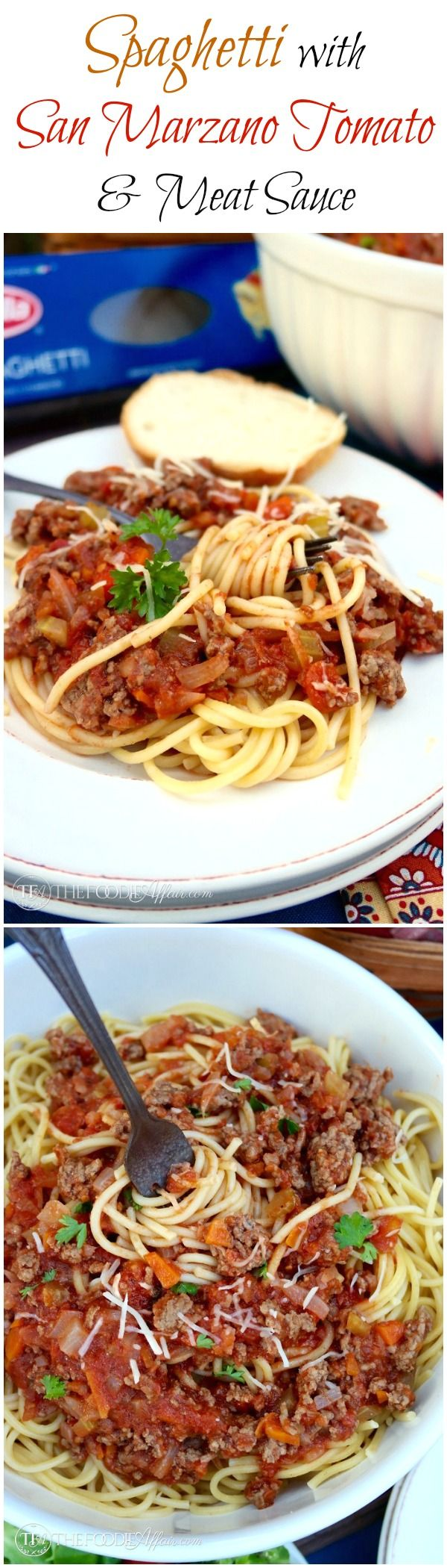 Easy homemade meat sauce with carrot, celery, and San Marzano tomatoes tops Barilla® spaghetti! The Foodie Affair #sponsored #pasta #spaghetti