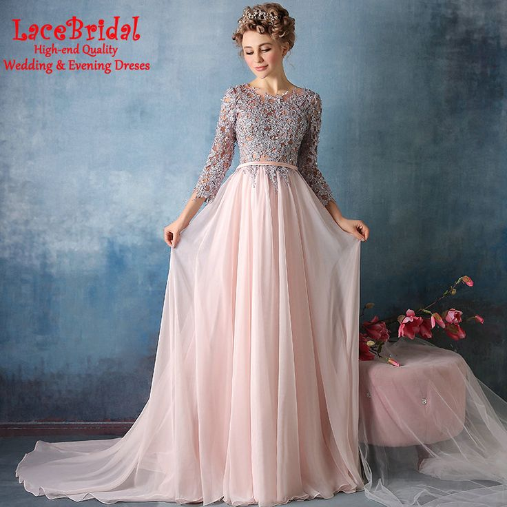 Find More Evening Dresses Information about Sexy Pink A Line Beaded Lace Evening Dresses 2016 with Sleeves Chiffon Long Engagement Party Proms Gown robe de soiree TE165,High Quality dresses elderly,China dresses everyday Suppliers, Cheap dress shoes size 5 from LaceBridal on Aliexpress.com