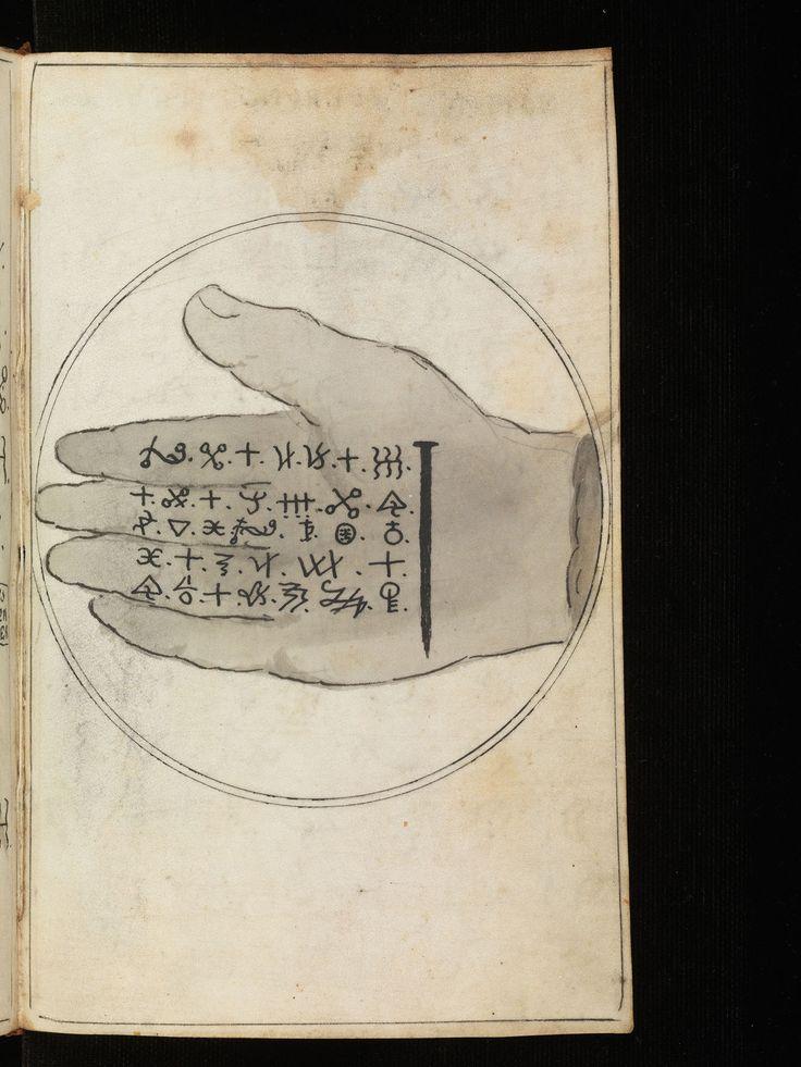 """Main ouverte et caractères cabalistiques, du manuscrit """"Zauberbuch vom Dr. Faust. Dochder Johannes Faust III. Fager Hollen. Zwanck. Schwartze Magie […]"""" autour de 1700. A découvrir sur le site #BodmerLab"""