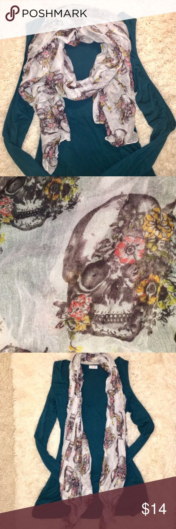 Multi way Floral & Skull Print White Scarf. Multi way Floral And Skull Print White Wrap Scarf. 💐Bundle and save 20%. Accessories Scarves & Wraps