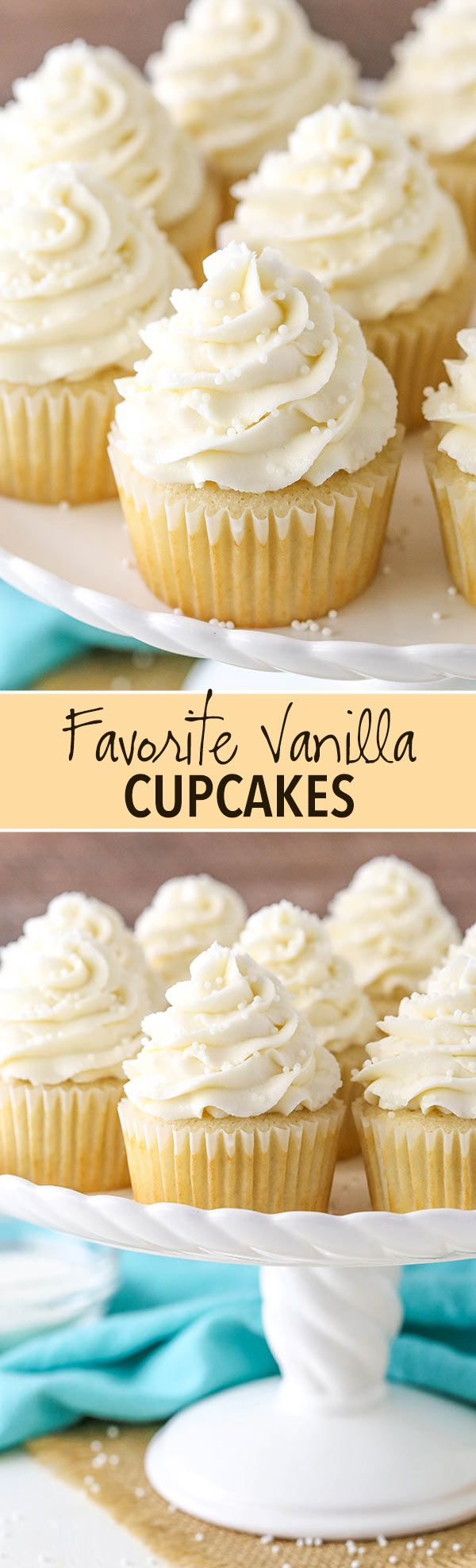 Moist and Fluffy Vanilla Cupcakes! My favorites! ~ Life, Love, and Sugar