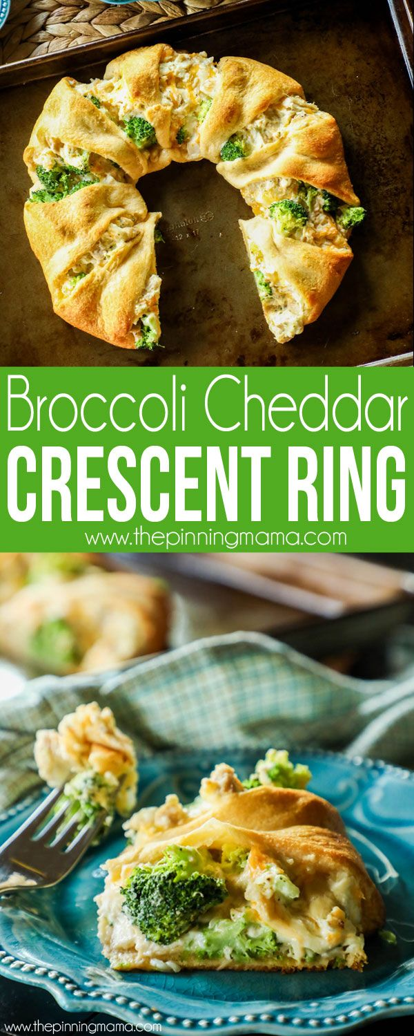 Chicken Broccoli Cheddar Crescent Ring Recipe- EASY + Delicious dinner!