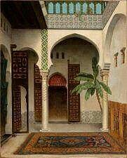 Algérie - Peintre Français  Pierre Outin(1839-1899), huile sur toile, Titre : L'intérieur d'un palais