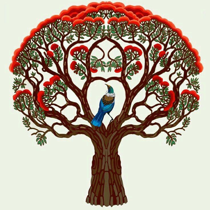 Kiwi Christmas Tree (illustration)