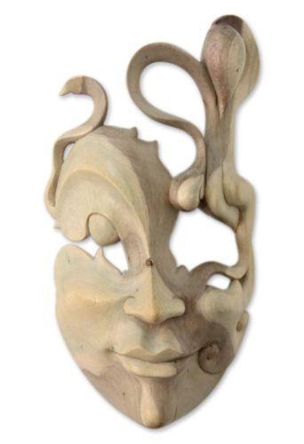 Surreal Modern Mask 'Enigma' Hand Carved Hibiscus Wood Wall Art NOVICA Bali