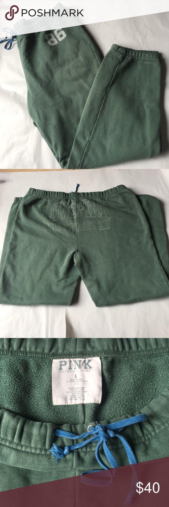 PINK by VICTORIA SECERT green jogger sweatpants Olive green jogger sweats. Size large. PINK Victoria's Secret Intimates & Sleepwear