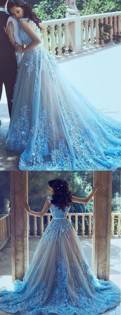 Long Wedding Dresses, Wedding Dresses 2017, Tulle Wedding dresses, Sleeveless Wedding Dresses, Blue Wedding dresses, Long Blue dresses, Blue Long dresses, Blue Sleeveless Wedding Dresses, 2017 Wedding Dresses Straps Blue Hand-Made Flower Tulle