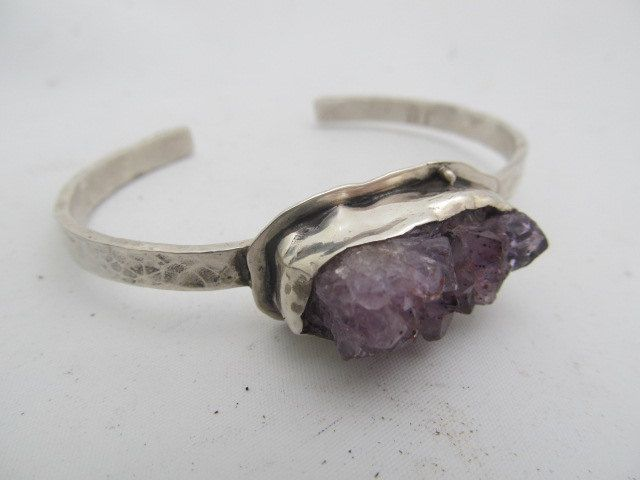 Amethyst Geode crystal cuff - hand fabricated sterling