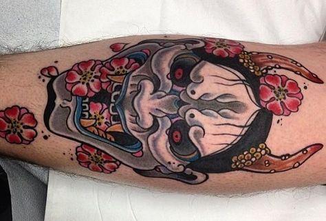 15 increíbles tatuajes de hannya, máscaras japonesas que tienes que ver