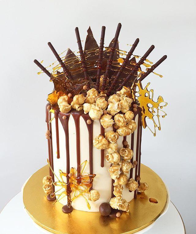 Lottie and Belle. Chocolate Salted Caramel popcorn cake