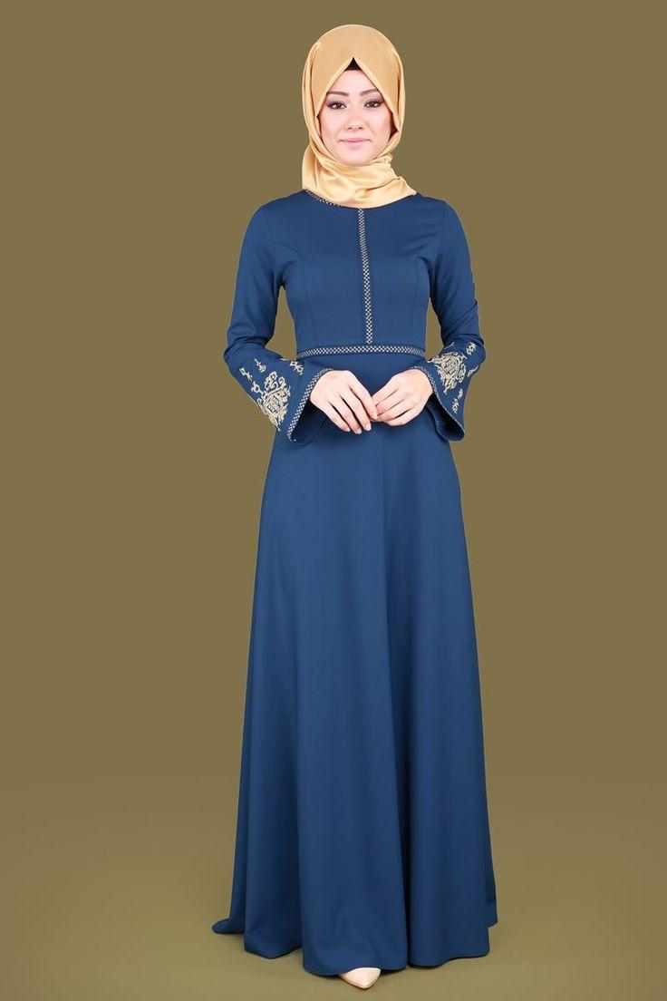 ** YENİ ÜRÜN ** Etamin Nakışlı Tesettür Elbise İndigo Ürün kodu: MDS2020 --> 129.90 TL