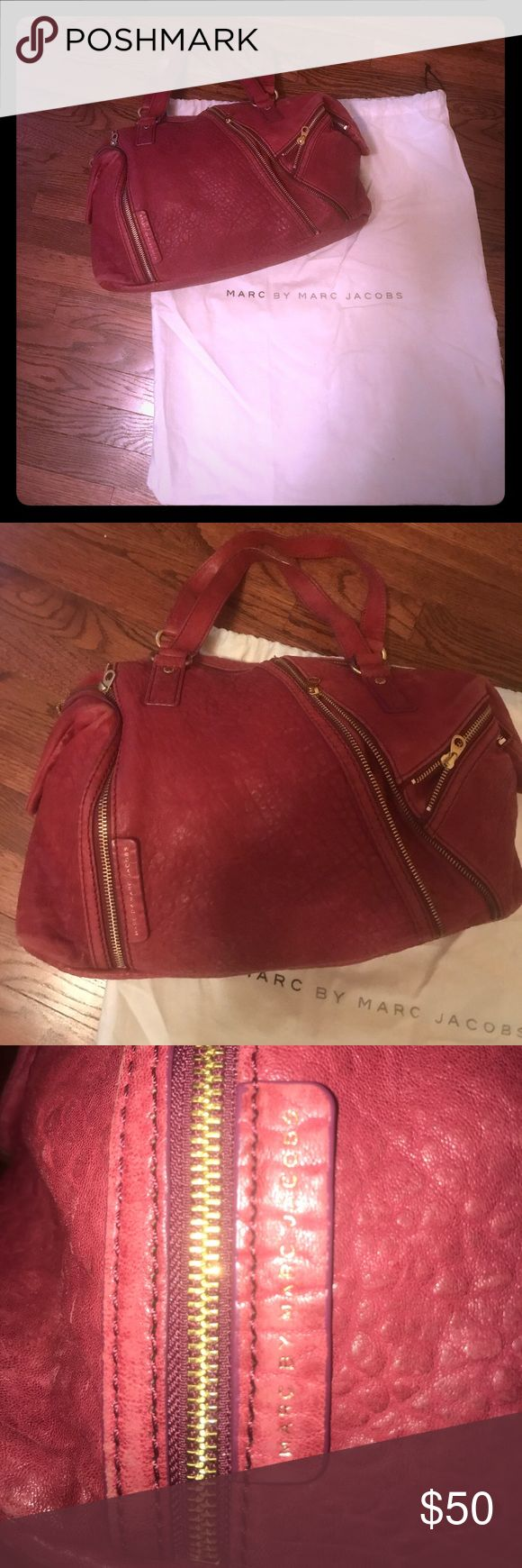 Marc Jacobs Shapeshifter Pink and Gold Handbag Purchased in 2011 from Nordstrom Rack for $259, some signs of wear (see pictures) and store in cloth bag. Duster Bag included. Raspberry pink with gold details. Open to offers. Marc By Marc Jacobs Bags Shoulder Bags