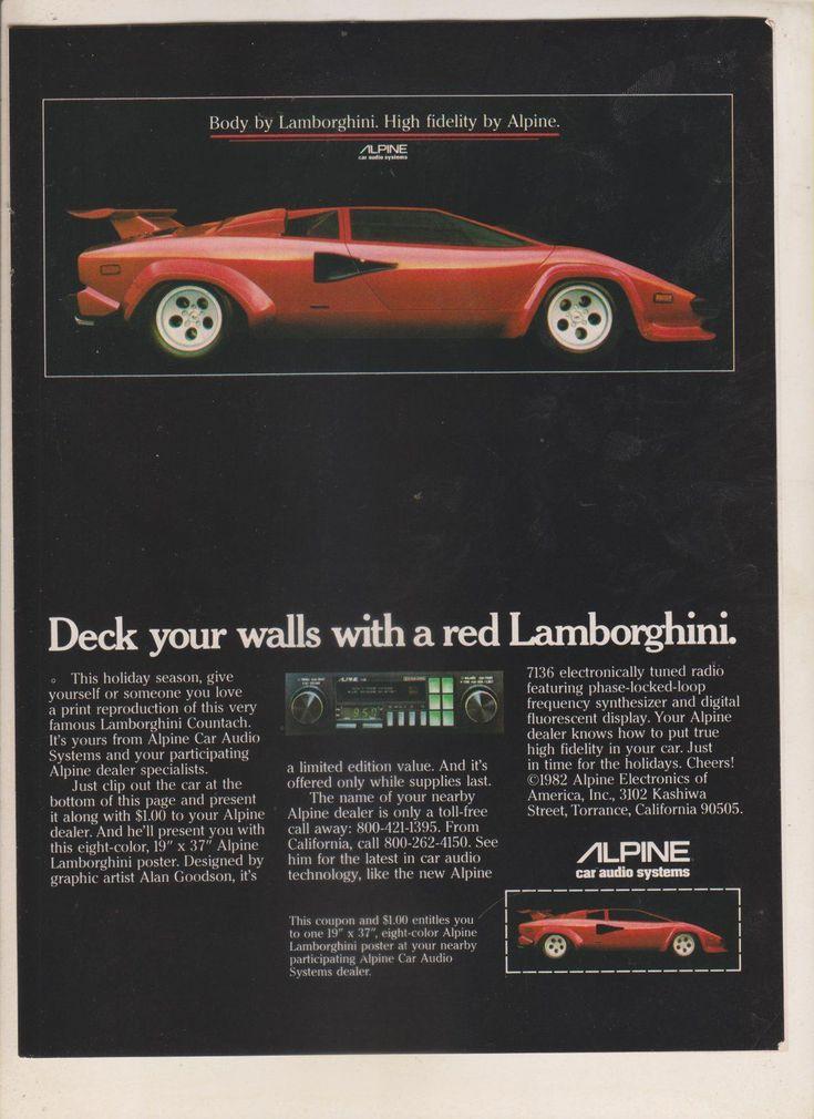 1982 print ad alpine car audio systems 7136 radio red