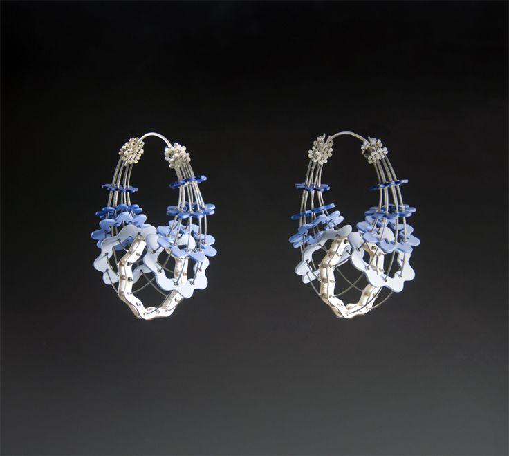 Blue.     Earrings.  stainless steel, sterling silver, styrene, acrylic paint.  2015 #jewelry #artjewelry #handmade #silver #silversmith #crafts #metal #earrings #fineart #color #blue #gradient