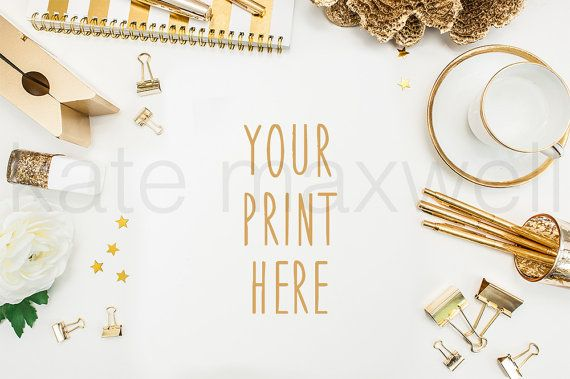 Styled White Desk w/ Gold Coral Gold Striped by KateMaxShop