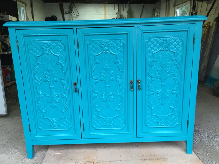 "Turquoise Cabinet: Restored cabinet finished in BM R-9955 ""Atlantis"""