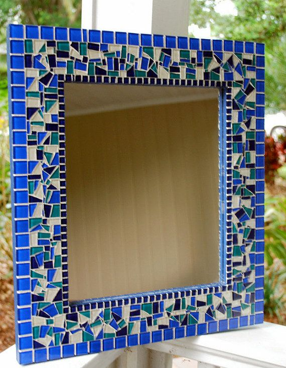 Blue Mosaic Mirror MADE TO ORDER by GreenStreetMosaics on Etsy #mosaic #blue #glass #mirror #home #decor #wall #handmade #etsy