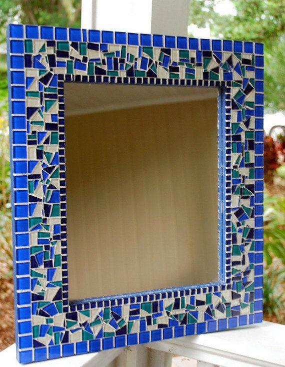 Blue Mosaic Mirror MADE TO ORDER by GreenStreetMosaics on Etsy #mosaic #blue #glass #mirror #home #decor #wall #handmade #etsy