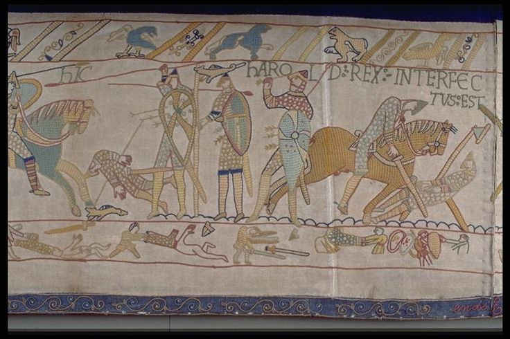 Britain's Bayeux Tapestry Scene showing Harold being killed - 1885 The replica was first exhibited in Leek's Nicholson Institute in 1886. Then it was displayed across Britain, Germany and America before being exhibited at Reading Town Hall in 1895. This exhibition was supported by Alderman Arthur Hill. His offer to buy the replica was accepted by the Leek Embroidery Society. He then presented the tapestry as a gift to Reading.