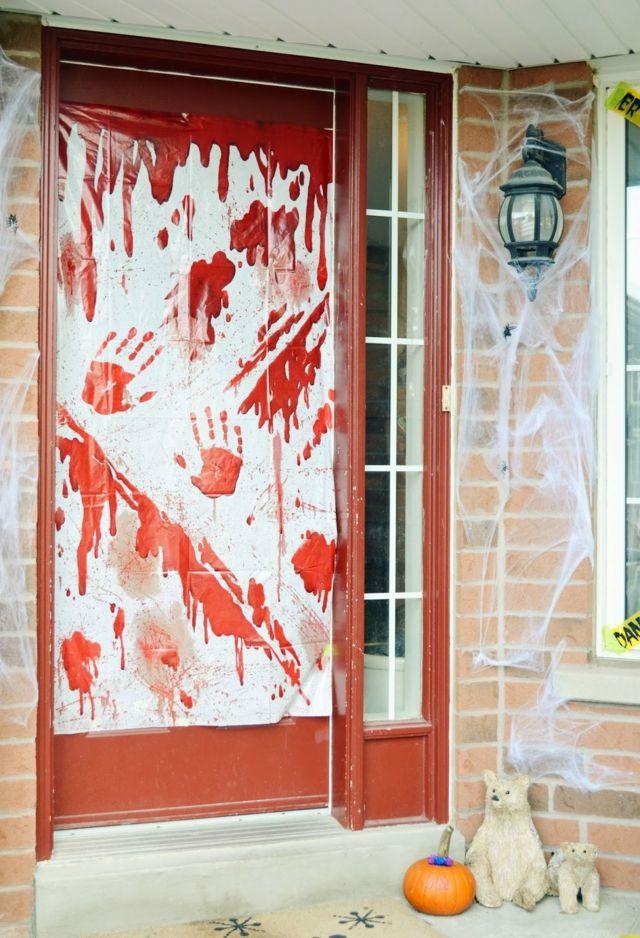 Décoration Halloween porte d'entrée en sang