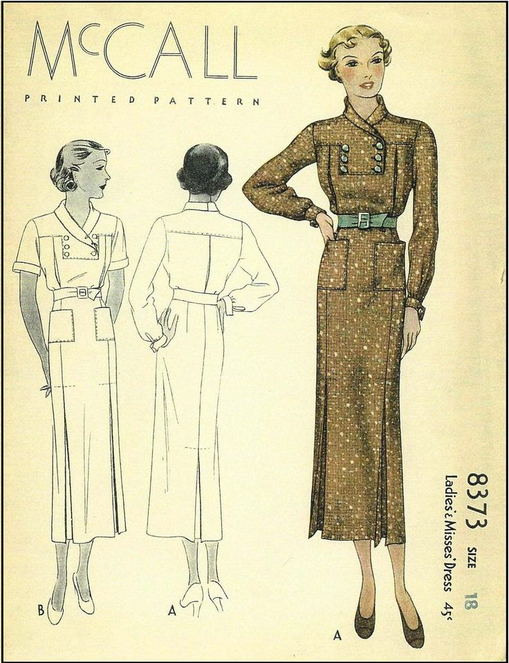 McCall #8373 - 1930s Ladies Day Dress Sewing Pattern