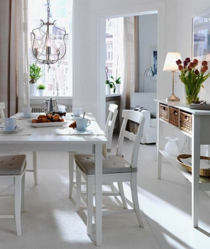 blue and white country rooms   white dining room area scandinavian, Hause ideen