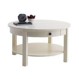 Dohányzóasztal AULUM átm80 polccal fehér