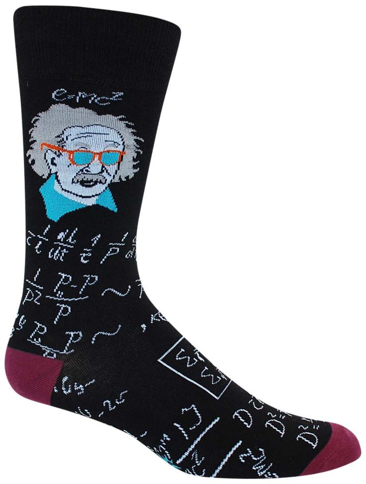 No need for a notecard for your math test- these awesome equation socks should have it covered. Now toss on some shades, tousle that hair, and pop your collar- Albert Einstein style. - Crew length - F